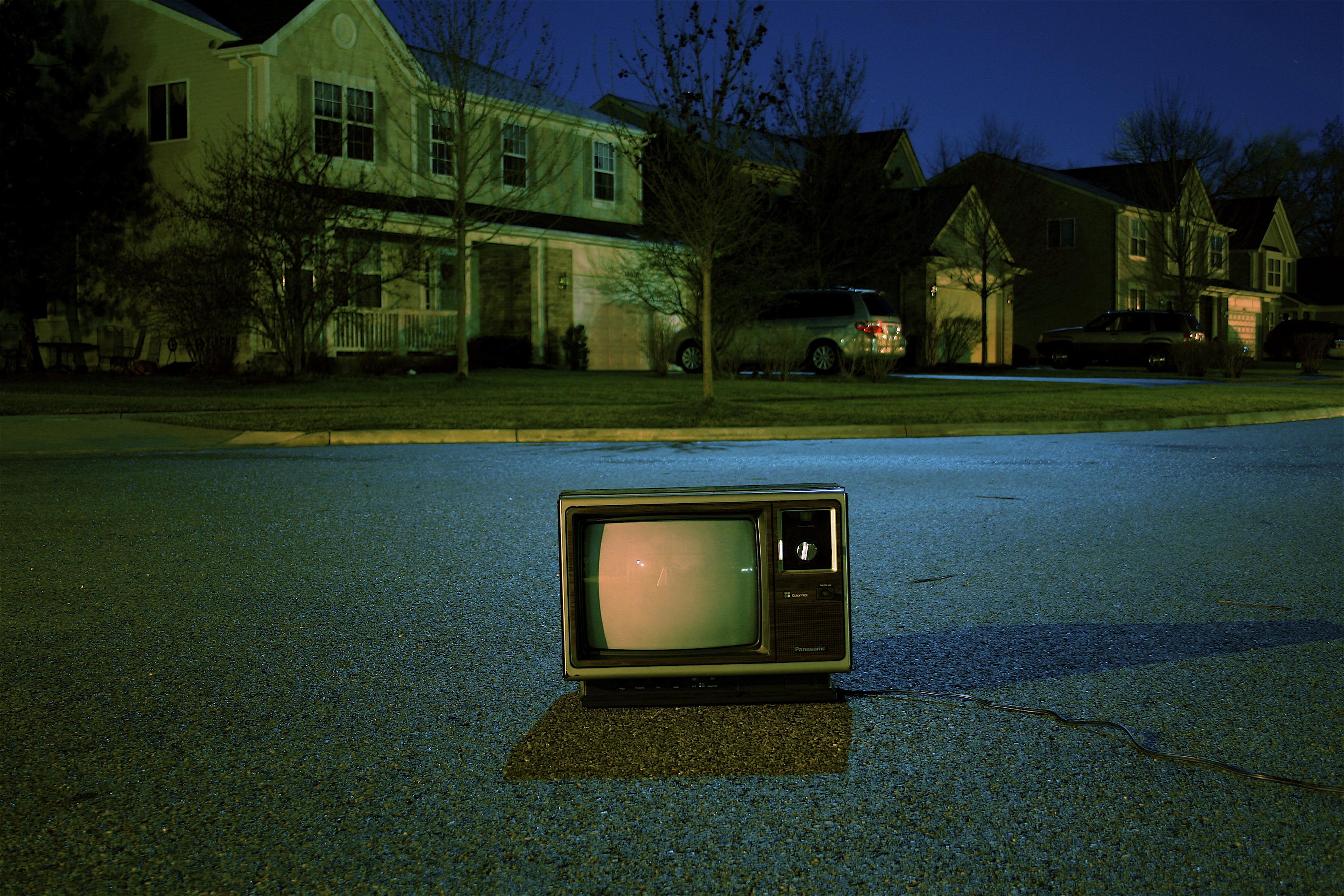 tv outside of house